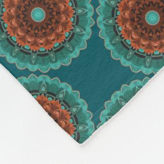 Large Flowery Teal Brown Orange Pattern Fleece Blanket