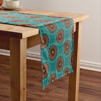Large Flowery Teal Brown Orange Pattern Short Table Runner