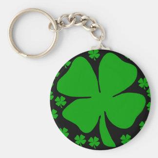 Large Four leaf clover design Basic Round Button Key Ring