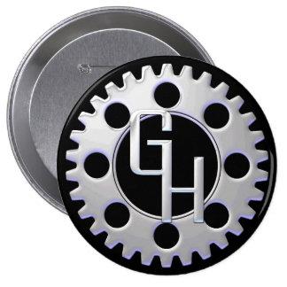 Large Gear Head Logo Button