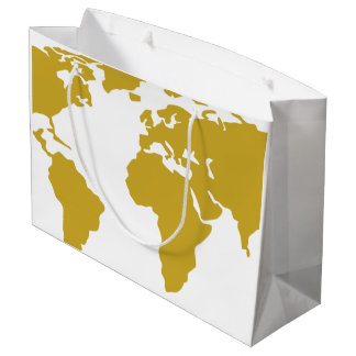 Large Gift Bag - Gold World Map
