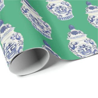 Large Ginger Jar on Green by Redux121DesignStudio Wrapping Paper
