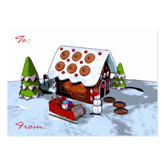 Large Gingerbread house Christmas Gift Tag Business Card