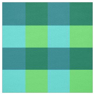 Large Gingham Plaid, aqua, teal, and lime green Fabric