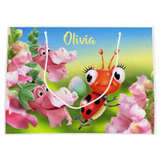 Large glossy gift bag Ladybug & friendly flowers