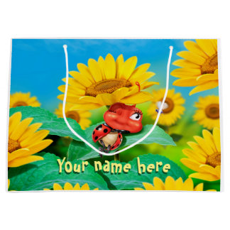 Large glossy gift bag sleepy Ladybug in sunflowers