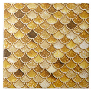 Large Gold Glitter Mermaid Scales Ceramic Tile