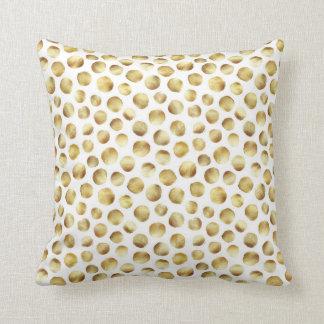 Large Gold Watercolor Polka Dot Pattern Cushion