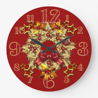 Large Golden Christmas Wreath Wall Clock