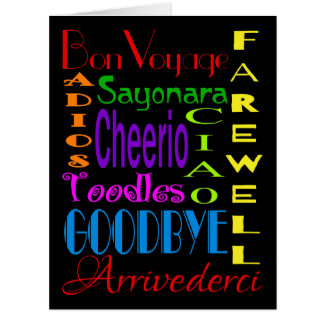 Large Goodbye Adios Cheerio 8 x 10 Farewell Card