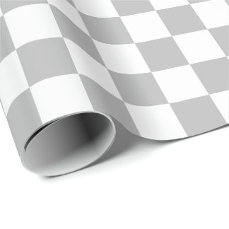 Large Gray and White Checks Wrapping Paper