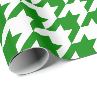 Large Green and White Houndstooth Wrapping Paper