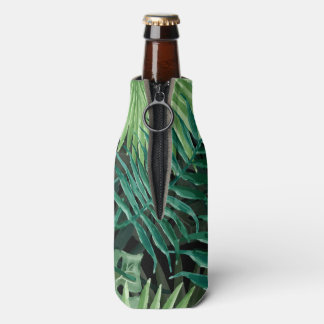 Large Green Fern Palm and Monstera Tropical Plants Bottle Cooler