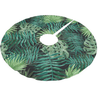 Large Green Fern Palm and Monstera Tropical Plants Brushed Polyester Tree Skirt
