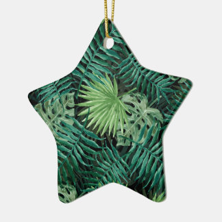 Large Green Fern Palm and Monstera Tropical Plants Ceramic Ornament