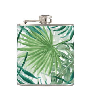 Large Green Fern Palm and Monstera Tropical Plants Hip Flask