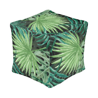 Large Green Fern Palm and Monstera Tropical Plants Pouf