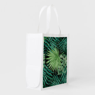 Large Green Fern Palm and Monstera Tropical Plants Reusable Grocery Bag