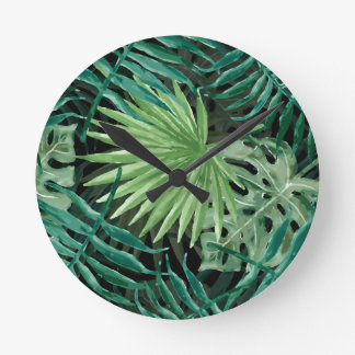 Large Green Fern Palm and Monstera Tropical Plants Round Clock