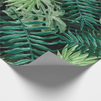 Large Green Fern Palm and Monstera Tropical Plants Wrapping Paper