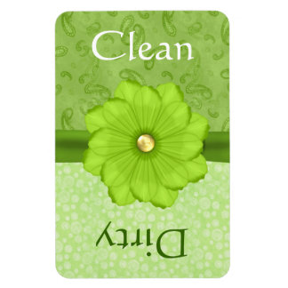 Large Green Floral Dishwasher Magnet