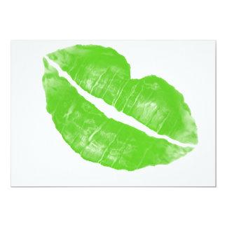 Large Green Irish Lipstick Blot on Transparent BG 13 Cm X 18 Cm Invitation Card