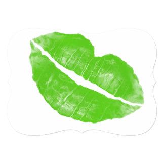 Large Green Irish Lipstick Blot on Transparent BG Card