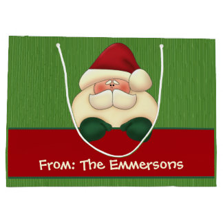 LARGE Green Stripes with Red Santa Custom Large Gift Bag