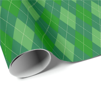 Large Green Tones Argyle Wrapping Paper