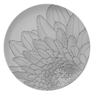 Large Grey Graphic Sunflower | Melamine Plate