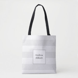 Large Grey Stripe with Square Badge Tote Bag