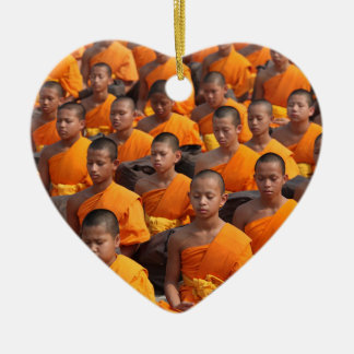 Large Group of Meditating Monks Ceramic Ornament