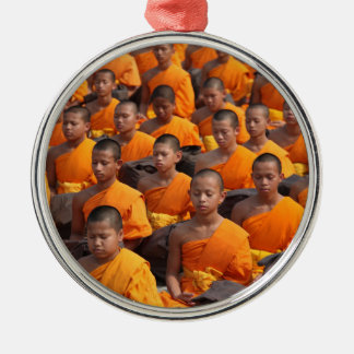 Large Group of Meditating Monks Metal Ornament