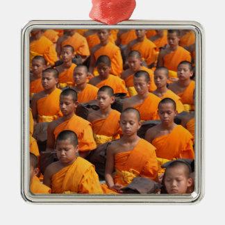 Large Group of Meditating Monks Metal Ornament
