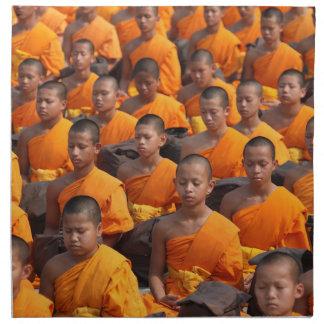 Large Group of Meditating Monks Napkin