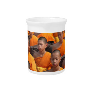 Large Group of Meditating Monks Pitcher