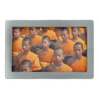 Large Group of Meditating Monks Rectangular Belt Buckle