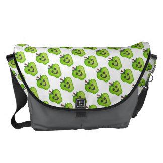 "Large ""Happy (Green) Apples Teacher"" Messenger Bag"