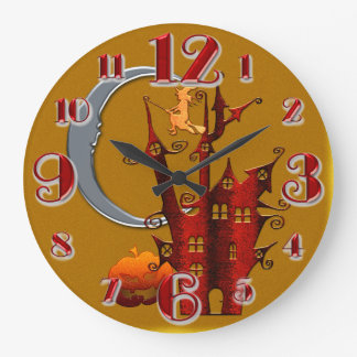 Large Haunted House Halloween Clock