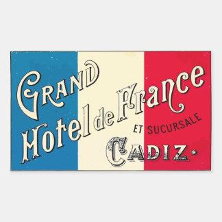 Large Hotel of France (Cadiz) Rectangular Sticker