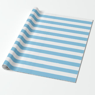 Large Light Blue and White Stripes Wrapping Paper