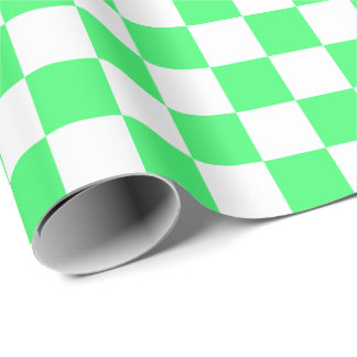 Large Light Green and White Checks Wrapping Paper