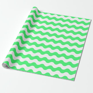 Large Light Green and White Waves Wrapping Paper