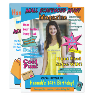 Large Mall Scavenger Hunt Birthday Magazine Cover Card