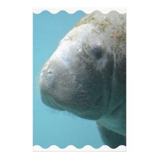 Large Manatee Underwater Custom Stationery
