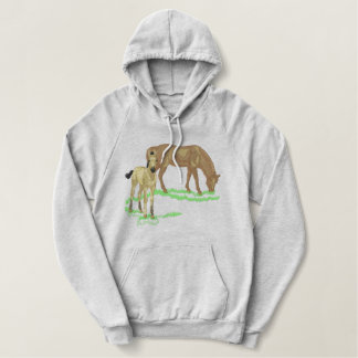 Large Mare and Foal Embroidered Hoodie