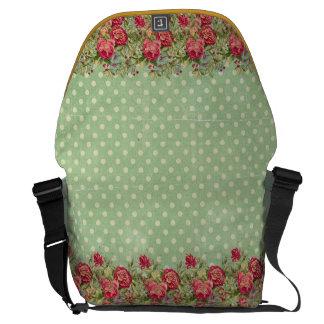 Large Messenger Bag vintage flower design