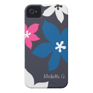 Large modern flower print personalized navy pink iPhone 4 Case-Mate cases