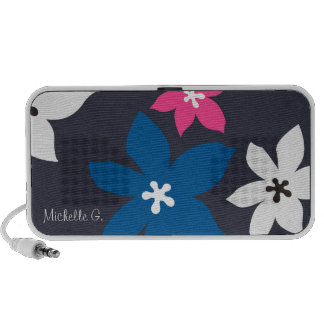 Large modern flower print personalized navy pink iPhone speakers