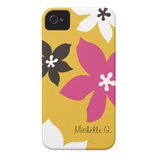 Large modern flower print personalized yellow pink iPhone 4 Case-Mate cases